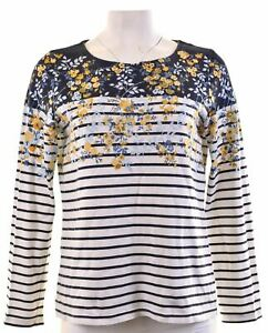 JOULES-Womens-Top-Long-Sleeve-UK-14-Medium-Blue-Striped-Cotton-IK07