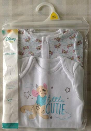 Disney Winnie The Pooh ~ Little Roo 2 x Baby Boys All In One Babygrow//Sleepsuits