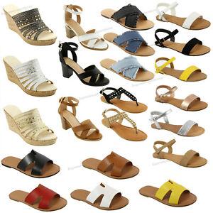 New-Sandals-Gladiator-Slip-On-Shoes-Thong-Flip-Flops-Strappy-T-Strap-Flat-Sandal