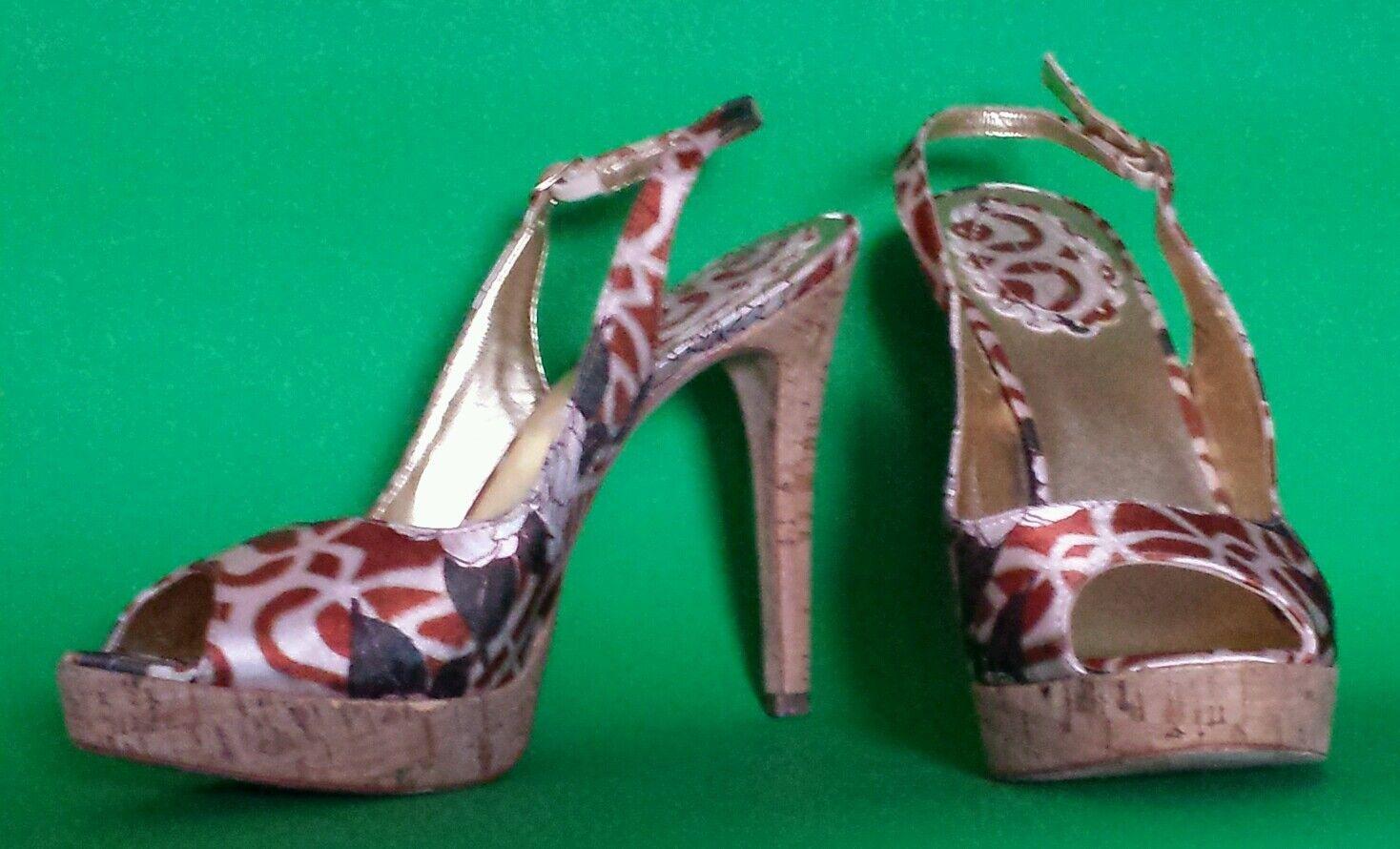 ALDO Open Toe Cork Heel Floral Abstract Satin Slingbacks Heels Leather Sole 9B