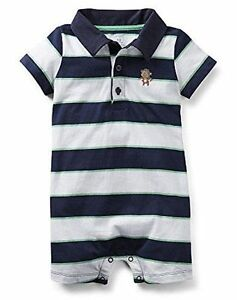 NEW Carters Baby Boys Blue White Green Striped Polo Romper 24 Months