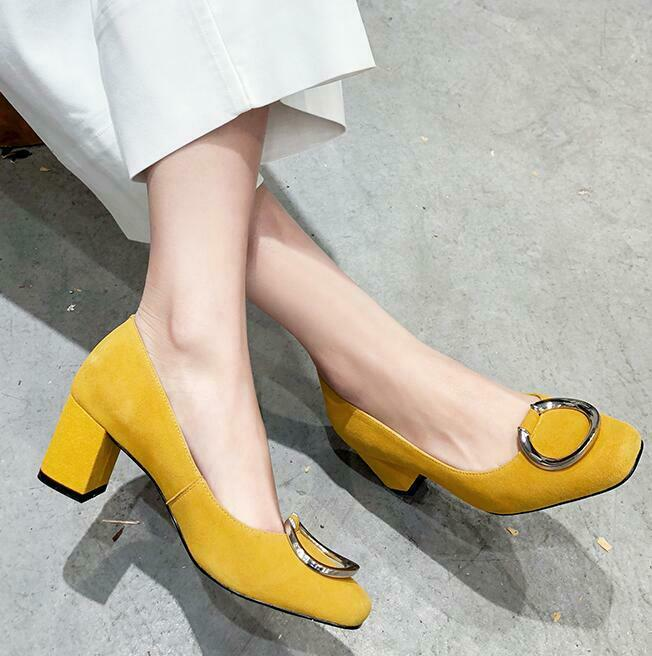 US US US SIZE 4-10.5 Elegant women Square Toe Slip on shoes block heel 6cm Solid heels 10d72f