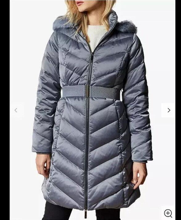 Ted Baker Beliiaa Long Chevron Padded Coat Gunmetal Silver Fur Hood Size 2 Uk 10
