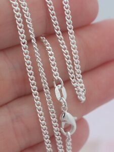 """925 Sterling Silver 16 18 20 22 24 26 28 30/"""" inch Flat Curb Link Chain Necklace"""