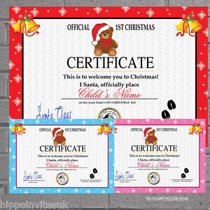 Image Is Loading Personalised Santa Certificate Good List First 1st Girls