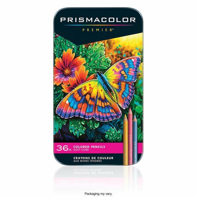 Prismacolor 36 Prismacolour Premier Coloured Soft Core Pencils Set in Tin Case