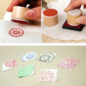 Set-of-6-Vintage-Floral-Flower-Round-Wooden-Rubber-Stamp-Scrapbooking-Wedding-fo