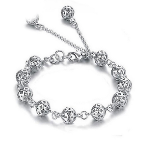 925-Silver-Plated-Crystal-Hollow-Beads-Bracelet-Charms-Bangle-Fashion-Jewelry