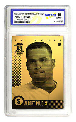 LOUIS CARDINALS SIGNATURED WCG GEM-MT 10 23KT GOLD CARD! ABERT PUJOLS 2003 ST