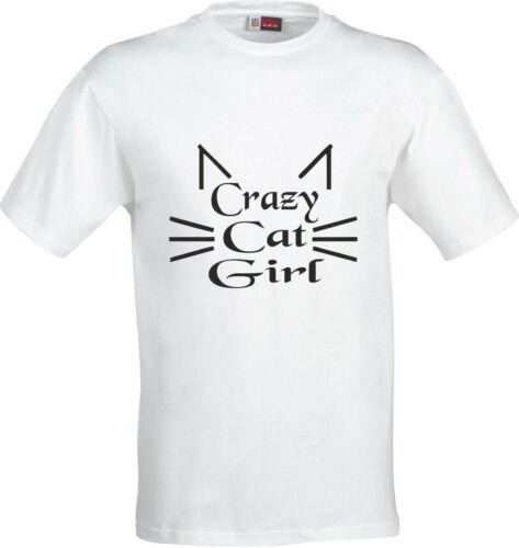 CRAZY CAT GIRL FUNNY HUMOR COTTON  T SHIRT