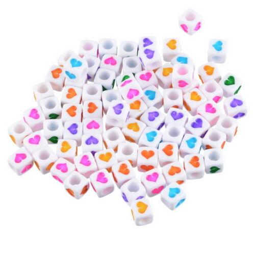 300PCs mixte acrylique blanc perles COEUR motif cube beads 6x6mm