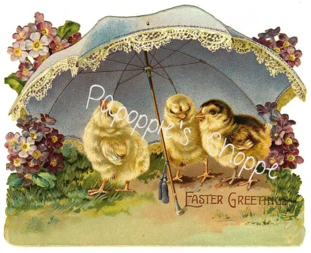 Vintage Easter Fabric Block Easter Chicks Umbrella