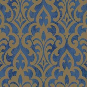 Wallpaper-Designer-Metallic-Gold-Ink-Damask-on-Faux-Lapis-Blue-Marble-Ground