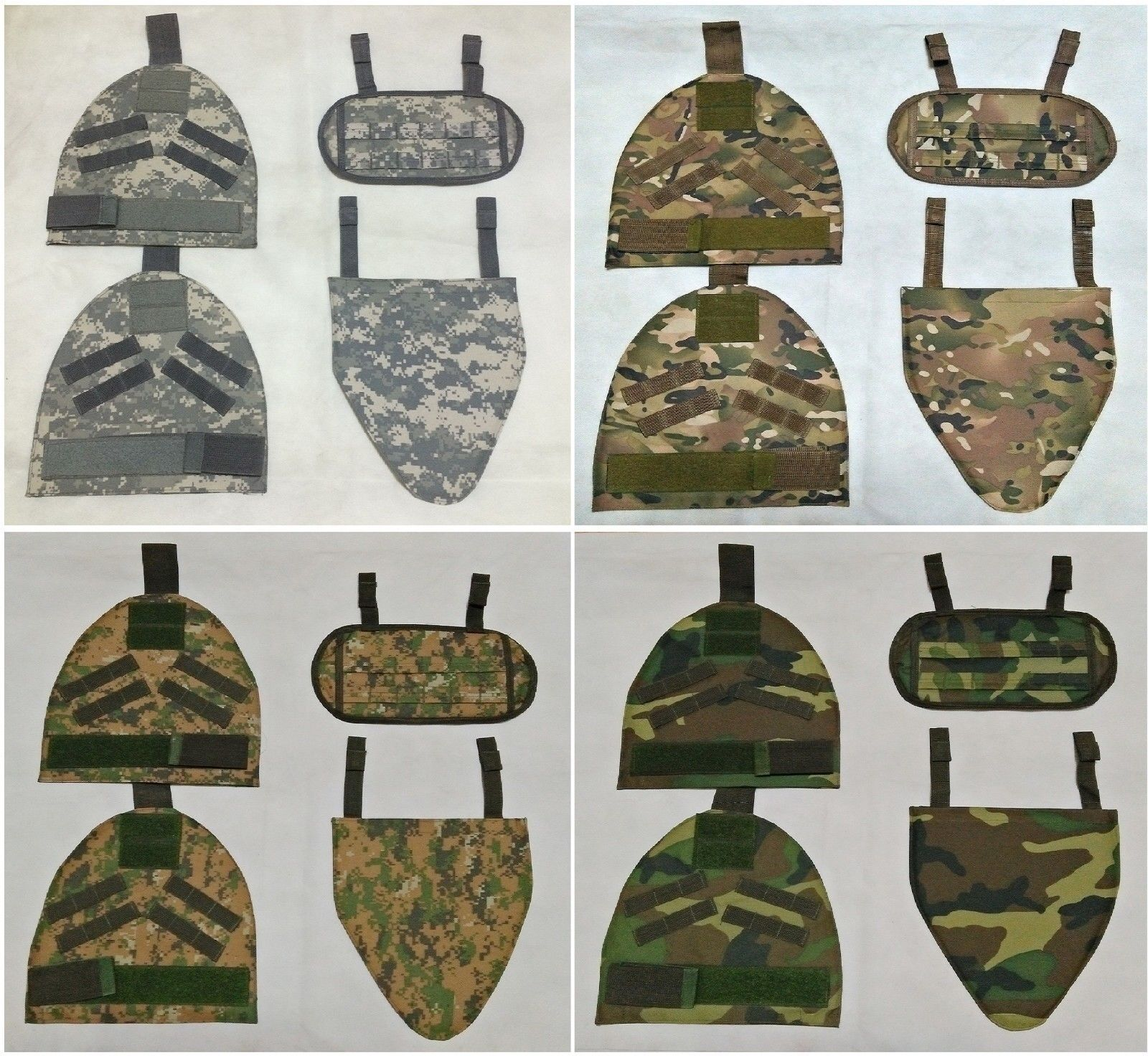 New Airsoft Molle Shoulder Predector Pads + G Predector Pad Sets 4 Camouflage