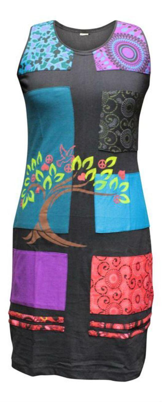 Multicolor Multicolor Multicolor Hippie Cuerpo ajustada de las mujeres sin mangas túnica Vestido Casual saliente Top 0fc07e