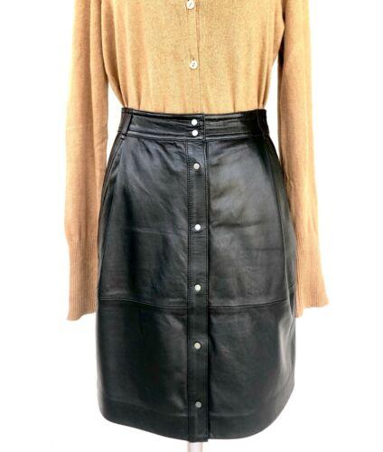 VINCE Pleated Leather Skirt, Black, Size XXS / 00
