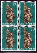 STAMP TIMBRE LIECHTENSTEIN OBLITERE BLOC DE 4 N° 629 NOEL SCULTURE BAROQUE