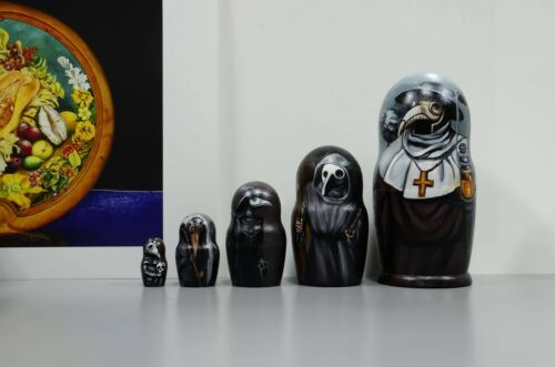 Wooden nesting dolls Plague doctor Russian Matryoshka Babushka handmade