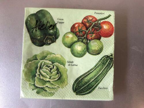 Atelier Servietten Motiv Salat Tomate Zucchini Paprika 33 x 33 cm 20 Stück E