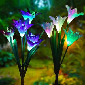 Eg-4-LED-Solaire-puissance-Nenuphar-Fleur-Piquet-Lumiere-Exterieur-Jardin-Ga