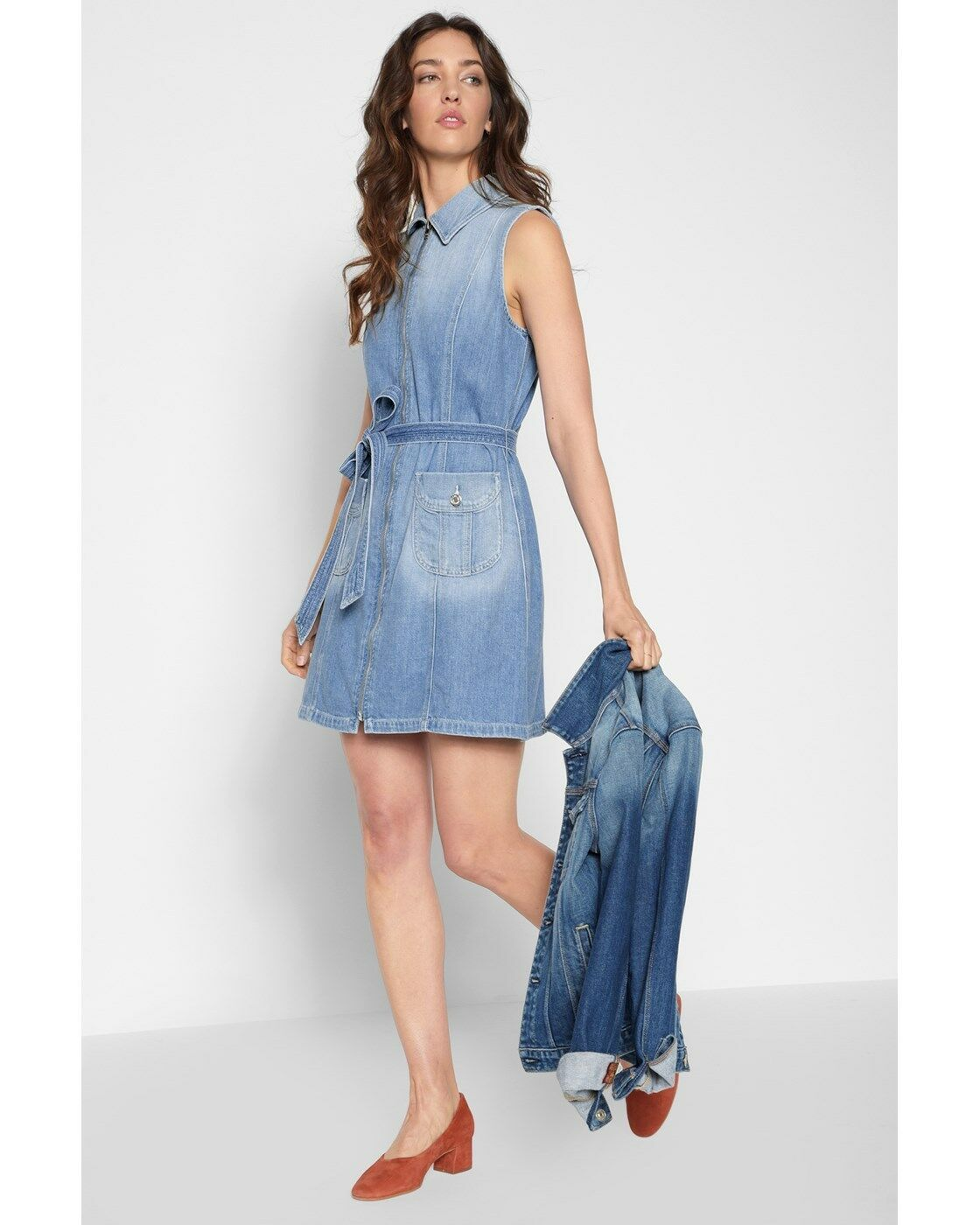 259 7 For All Mankind Belted Zip Front Luxe Lounge Coastal bluee Denim Dress L