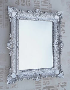 Wall Mirror Silver Antique Baroque Reproduction Bathroom