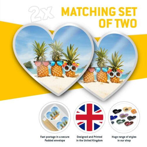 2 x Heart Stickers 7.5 cm Pineapples on Beach Family  #16726