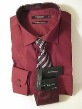 NWT DRESSMAN SZ L 41-42 Burgundy Red Long Sleeve Dress Shirt & 2 Ties~EASY CARE