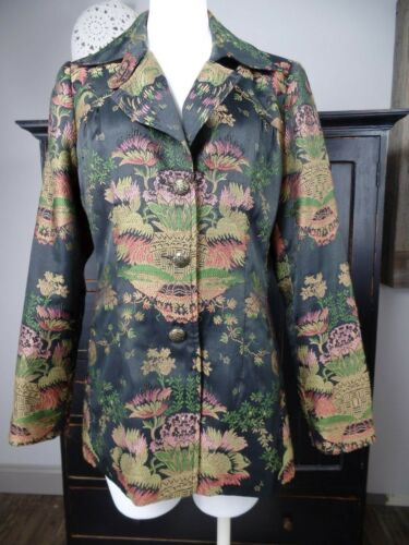 Giacca giacca lunga Print Black Asian Medium Cabi Womens più sportiva Floral Button wpqzn0S
