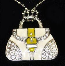 USB Stick 4 GB Handtasche Handbag Bag Tasche weiß gelb Strass Schmuck Anhänger