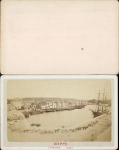 France Dieppe Arriere Port CDV Vintage Albumen Carte