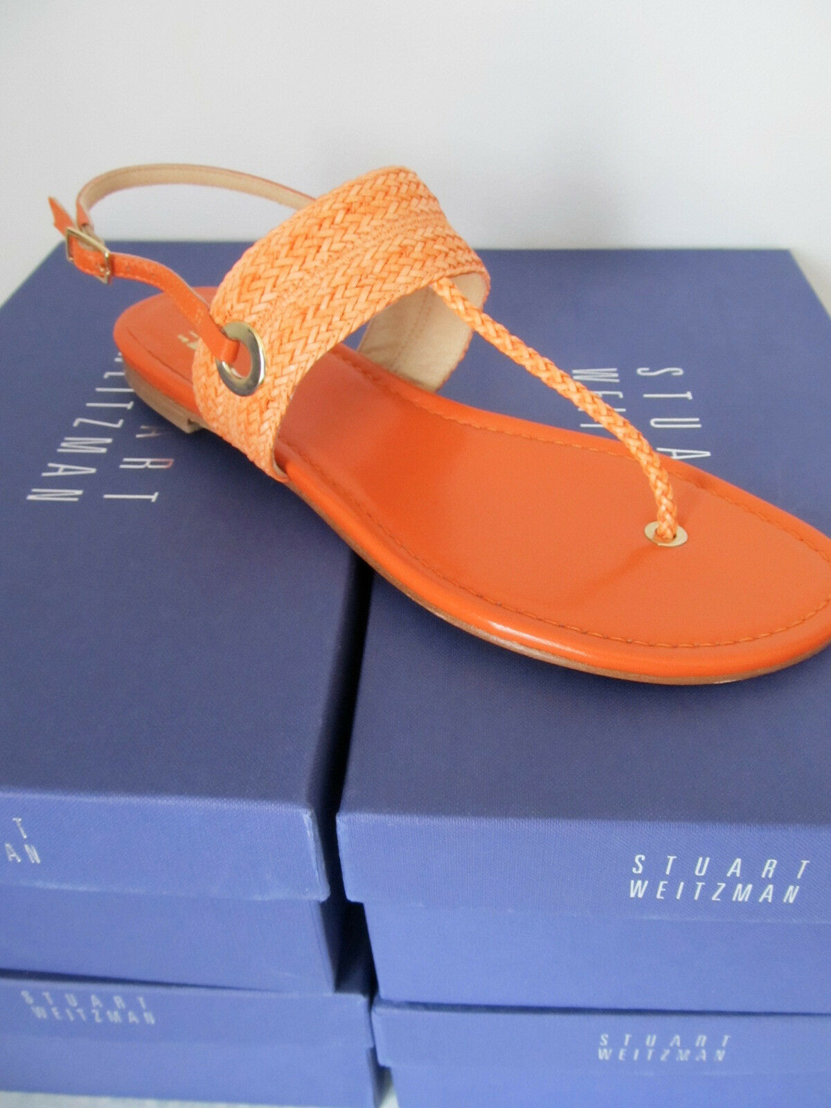 NEW STUART WEITZMAN SIZE 7  WOMENS orange CORAL FLATS SHOES SANDAL