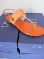 Stuart Weitzman Size 7 Womens Orange Coral Flats Shoes Sandal