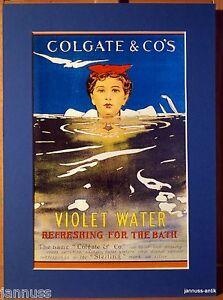 alte-Reklame-Druck-Passepartouts-80er-Colgate-amp-Co-s-Violet-Water-36x26-cm-877