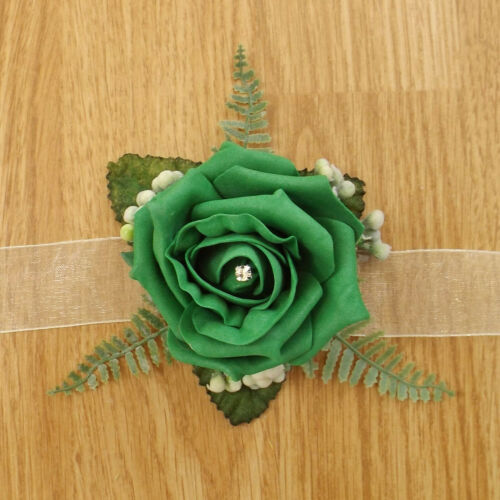 Artificial Wedding Flowers Emerald Green Rose Brides Bouquet Buttonhole