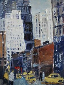 ROLAND-LEFRANC-HUILE-SUR-TOILE-039-NEW-YORK-PEARL-STREET-039-12P