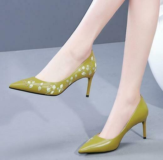 Women Real Leather Pointed Toe Floral Embroidery Stiletto High High High Heel shoes US 4-8 169b24