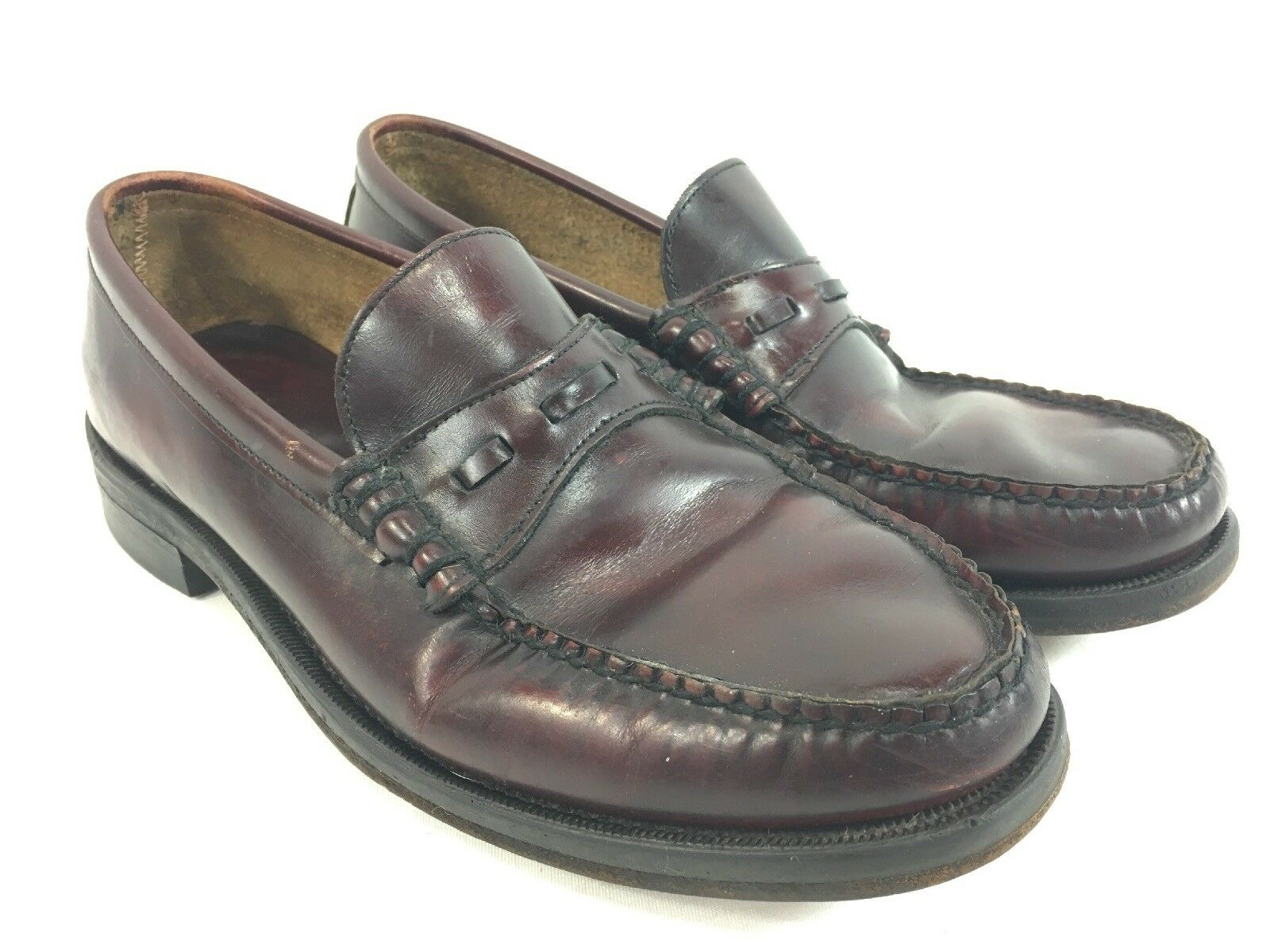 LL Bean Loafers shoes Mens 9 D Slip On Burgundy Leather