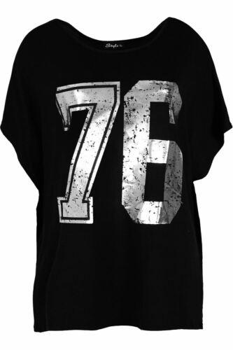 Plus Taille Femmes Lagenlook Batwing Top pour Femme Baggy Varsity Off épaule T Shirt