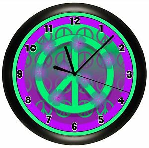 Details about PURPLE PEACE SIGN WALL CLOCK DORM OFFICE GIFT DECOR GIRL  BEDROOM DECOR TEENAGER