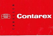 Zeiss Ikon Contarex Tabellen Gebrauchsanleitung GA 10.2401