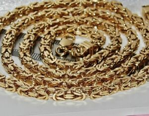 9CT-YELLOW-GOLD-ON-SILVER-30-INCH-SQUARE-BYZANTINE-SOLID-LINK-CHAIN-MENS-LADIES