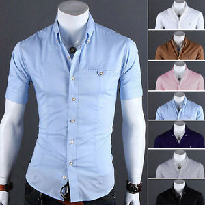 Mens-Short-Sleeve-Button-Down-T-shirt-Tops-Slim-Fit-Casual-Dress-T-Shirts-Blouse