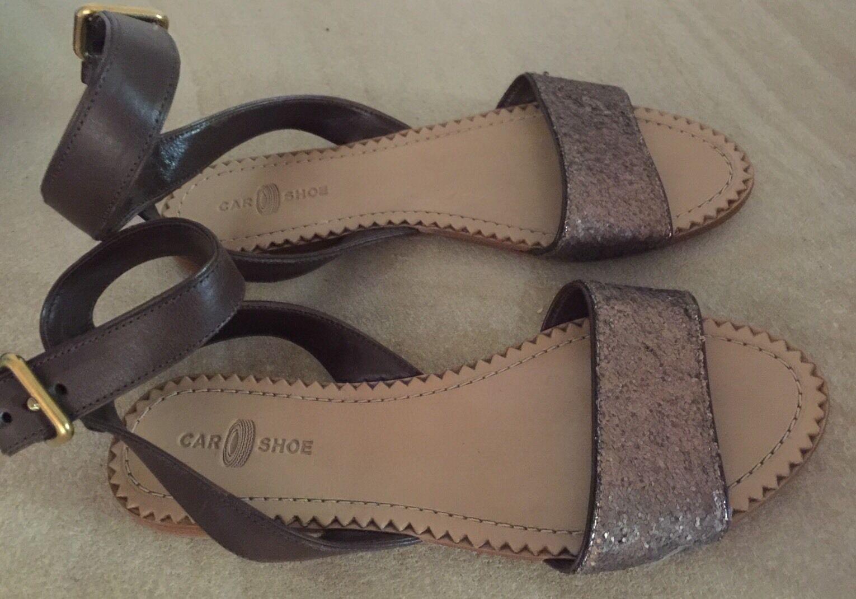 CAR SHOE ( PRADA) Leather Bronze Glitter Sandal 36.5 New W o Tags Defect