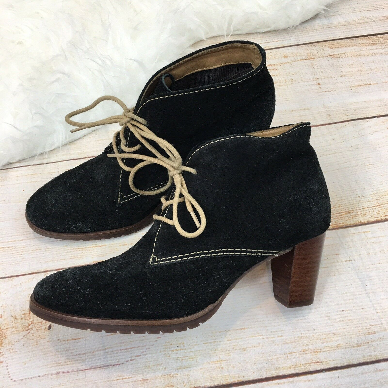 Comfort Maven By Mercy Womens Black Suede Lace Up Jessie Desert Booties 6