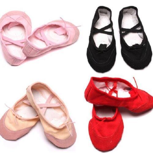 Details about  /Children Canvas Ballet Dance Shoe Slipper Toddler White//Black//Red//Pink//Beige G