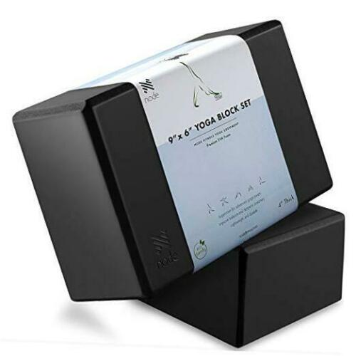 "Premium Yoga Block 4/"" Thick Foam Brick Black Set of 2"