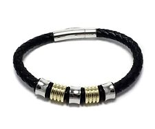 Mens Two Tone Stainless Steel Leather Band Bracelet Bangle Fashion Jewelry