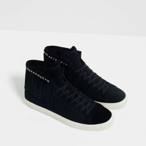 top Leather Suede eu43 High Uk9 Rare Zara Fringed Sneakers Genuine vq7xHBXRw
