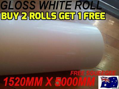 OZ excellent GLOSS WHITE Car Vinyl Wrap Sticker1.52 X 5 metre, squegee free